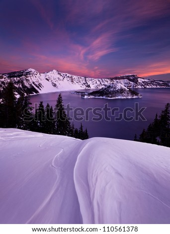 Winter Sunset at Crater Lake National Park in Oregon - stock photo