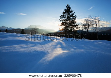 winter sunset in Alps, Bavaria, Germany