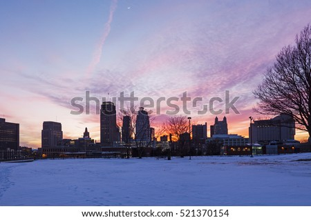 Winter sunset in Kansas City, Missouri, USA