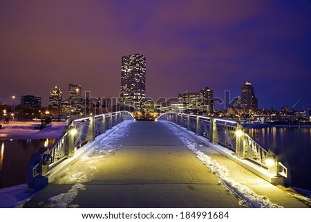 Winter sunset in Milwaukee - downtown seen from the lakefront - stock photo
