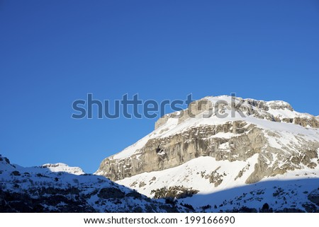 Winter sunset in the Pyrenees, Bernera Peak, Aragues Valley, Aragon, Huesca, Spain. - stock photo