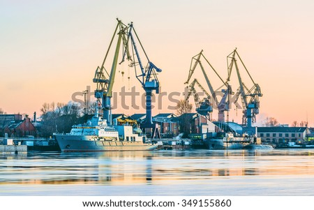 Winter sunset. Neva river. St.-Petersburg, Russia - stock photo