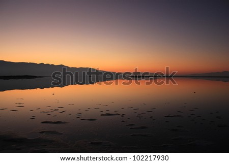 Winter sunset on the Great Salt Lake, Utah. - stock photo