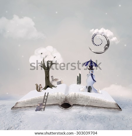 Winter tale book - stock photo