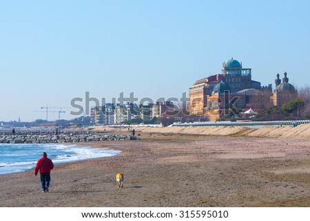 Winter. The famous Lido Beach in Venice, Italy.  - stock photo
