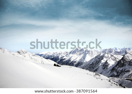winter time and blue sky and snow and alps