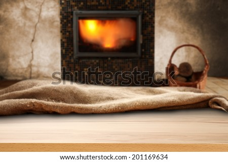 winter time and fireplace