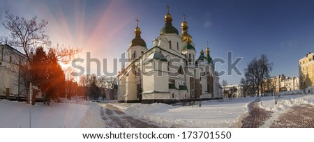 Winter time for special-old Sophia monastery in Kiev ... quiet old park, ancient trees and grandeur most revered and beloved Church in Ukraine for citizens foundation of the church in the 10th century - stock photo