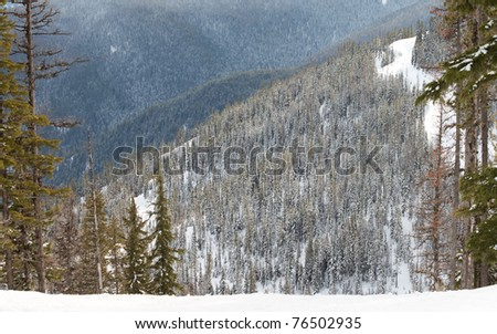 winter time in montana picture taking from the top of a ski resort