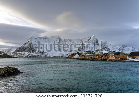 Winter time in Reine, Lofoten Islands, Norway.