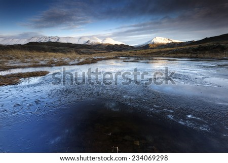 Winter time in south Iceland/Winter icy landscape - stock photo