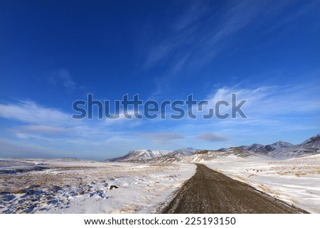 Winter time in south Iceland/Winter road - stock photo