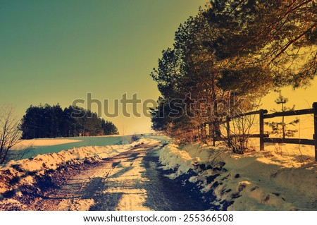 Winter time in the country side, rural nature scene - stock photo