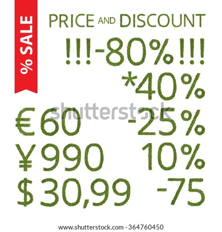 Winter time sales prices and discounts elements made of a pine needle