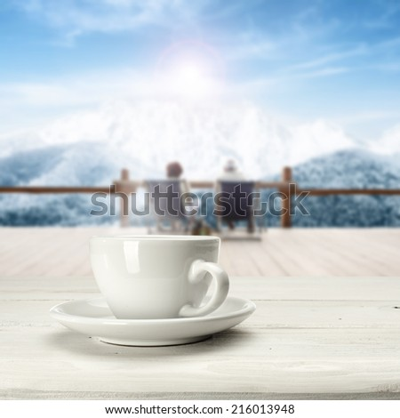 winter time with warm coffee  - stock photo