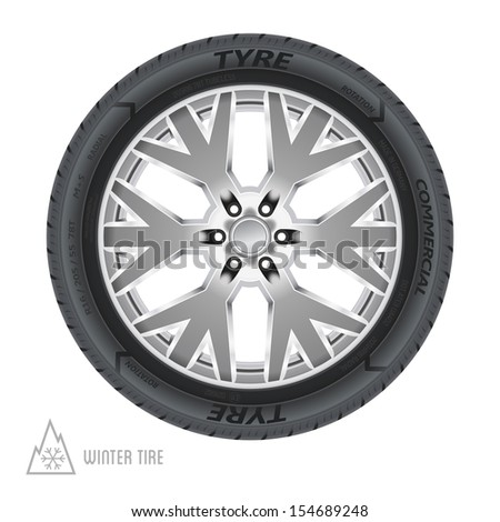 Winter tire abstract illustration - stock photo
