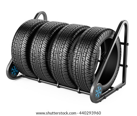 Winter tires set for sale at a tire store. 3d image isolated on a white background. - stock photo