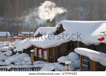 winter town covered by heavy snow - stock photo