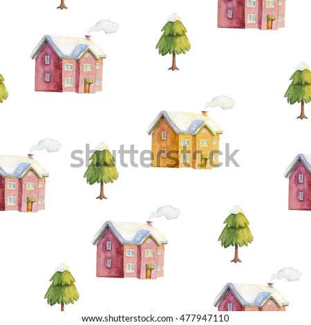 Winter town. hand drawn seamless pattern. watercolor illustration with snow-covered houses and trees. childish background