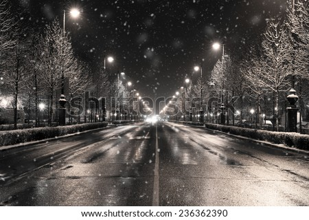 winter townscape in a snowfall, budapest - stock photo
