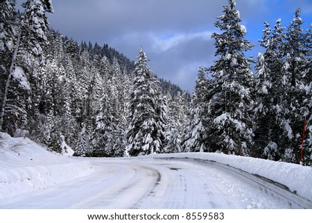 Winter travel on snowy roads in central Idaho