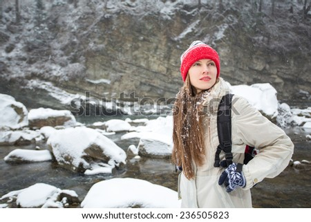 Winter traveler in amazing winter mountains landscape