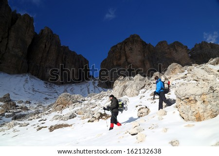 Winter trekking in the Dolomites, Sella Group, Italy, Europe - stock photo