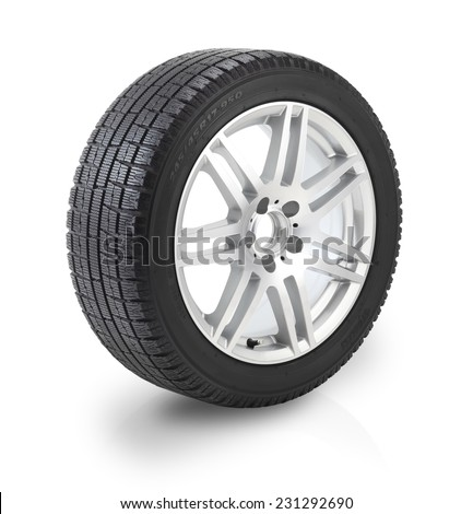 Winter tyre / Car wheel on white background. Clipping path included. - stock photo