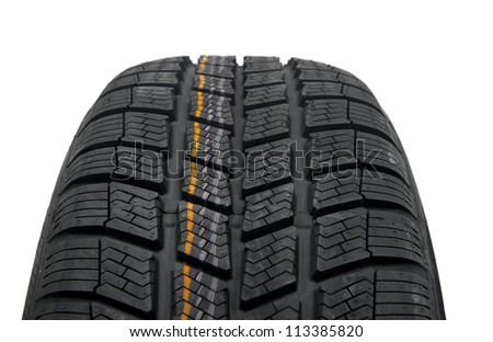 Winter tyre closeup on white background - stock photo
