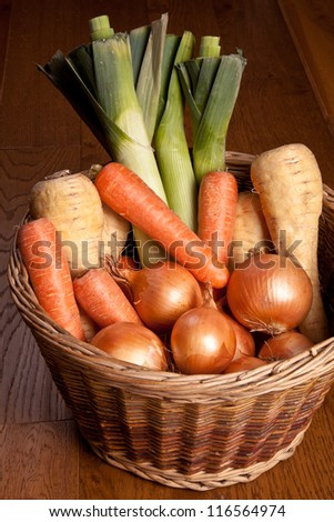 Winter Vegetables in a basket - stock photo