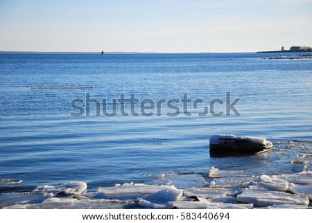 Winter view by the coast of the Baltic Sea in Sweden