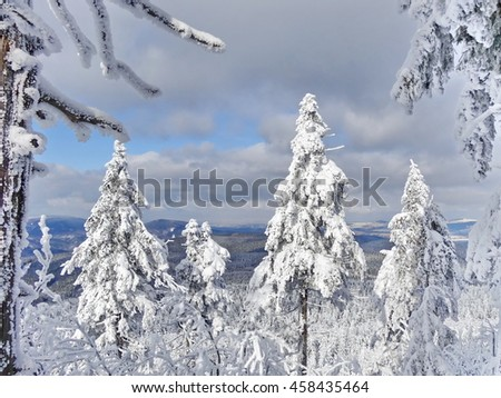 Winter view from Jested hill, altitude 1012 m, Liberec District, Czech Republic, - stock photo