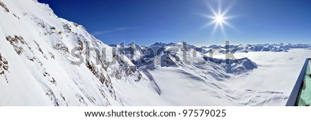Winter view from Kitzsteinhorn peak ski resort, Austrian Alps - stock photo