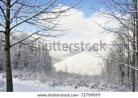 Winter, view from McGuire Mountain, Webster County, West Virginia, USA - stock photo