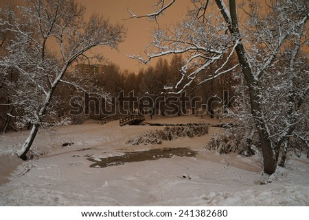 Winter view in the Yauza floodplain park - stock photo