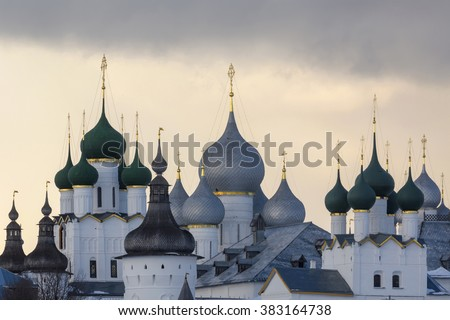 Winter view of medieval the Kremlin in Rostov the Great as part of The Golden Ring's group of medieval towns of the northeast of Moscow, Russia. Included in World Heritage list of UNESCO. - stock photo