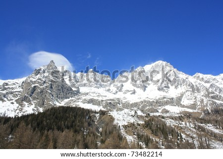 Winter view of Monte Bianco mountains ( Courmayer Aosta Valley )