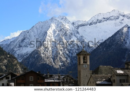 Winter view of Monte Rosa mountains ( Macugnaga Italy )