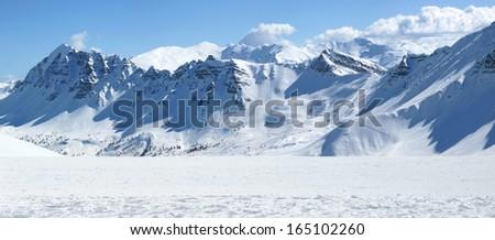 Winter view of mountains - stock photo