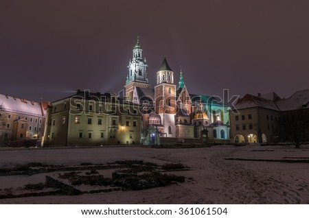 Winter view of the cathedral of St Stanislaw and St Vaclav on the Wawel Hill, Krakow, Poland. - stock photo
