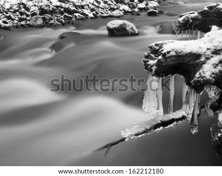 Winter view to icicles on twigs and icy boulders above rapid stream. Reflections of light in icicles. Black and white photo. Deep frost.  - stock photo