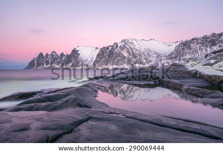Winter view to Steinfjord on Senja island in the sunset, Troms county (long exposure) - Norway - stock photo