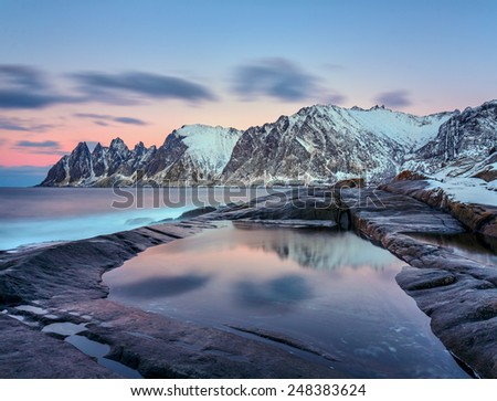 Winter view to Steinfjord on Senja island, Troms county (long exposure) - Norway - stock photo