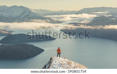 Winter views of Lake Wanaka from Roy's Peak - stock photo