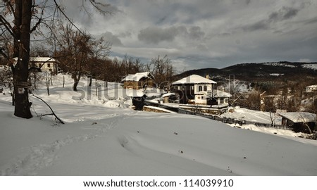 winter village - stock photo