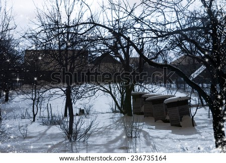 winter village with old wooden houses, trees without leaves, fences and garden. Winter rural landscape - stock photo