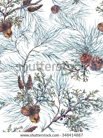 Winter Watercolor Christmas Seamless Pattern with Tree Branches, Fir Cones and Leaves. Natural Hand Painted Illustration on White Background