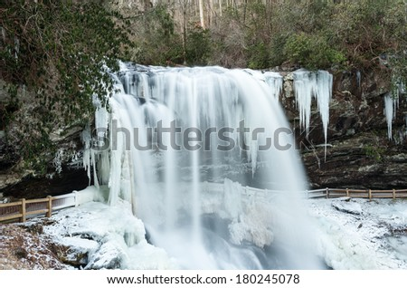 Winter Waterfall Western North Carolina Dry Falls Upper Cullasaja River - stock photo
