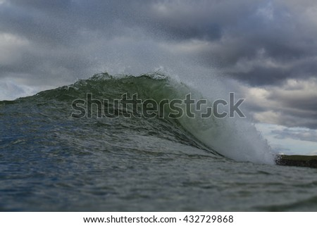 Winter wave/ a great wave for surfing pitches out and curls
