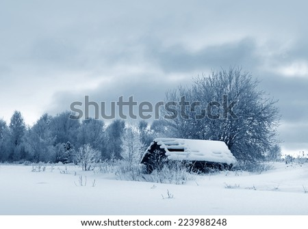 Winter weather, countryside - stock photo